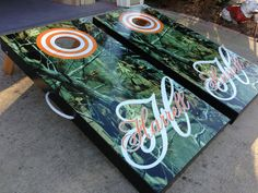 Full Camo Custom Cornhole Boards, Bags, and Add On Features