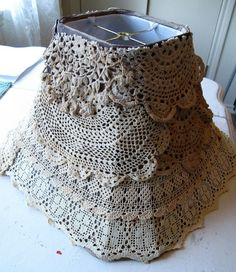 Lace lampshade with a shabby pink rose by BonnieWienke on Etsy, $24.50