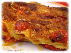 Lasagne con Salsa di Besciamella, Formaggio Caprino, Pesto e Pomodorini