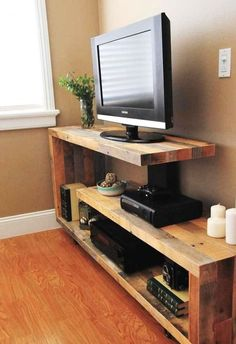 TV stand ideas modern for living room. TV stand ideas modern for bedroom. TV stand ideas modern for small spaces. Tv Console Modern, Rustic Tv Console, Console Tv, Rustic Tv Unit, Tv Unit Furniture, Diy Furniture, Console Furniture, Furniture Projects, Tv Stand Plans