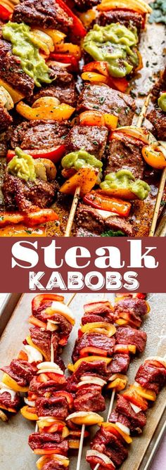 These Juicy Steak Kabobs are layered with onions and peppers, and they are seasoned to a flavorful perfection! Served with homemade guacamole, this easy steak recipe is sure to hit the spot. Good Steak Recipes, Kabob Recipes, Grilling Recipes, Pork Recipes, Easy Dinner Recipes, Breakfast Recipes, Easy Meals, Cooking Recipes, Recipies