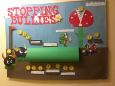 Board on different types of bullies, and facts about them. The guy residents enjoyed the video game aspect of it.