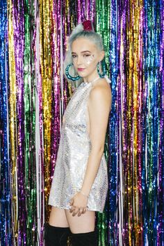 Silver Holographic Festival Dress