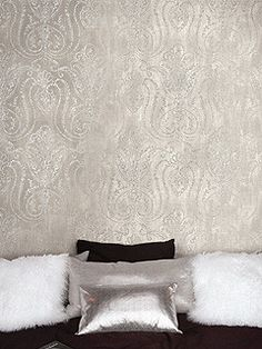 Paisley Wallpaper in Metallic and Neutrals design by Seabrook Wallcoverings