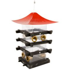 The Avant Garden Pagoda wild bird feeder is constructed from metal, wood, and plastic. It has a 3.5 lb seed capacity and 8 feeding stations. This delightful feeder will attract both birds and compliments!