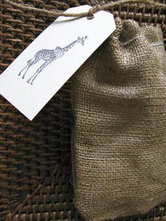 Giraffe Safari Theme on Burlap Wedding Favor Bag by PrinceSnowFarm, $1.50