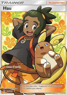 Hau and shiny Alola-chu -_Pokémon