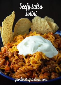 Picky eaters and flavor lovers unite with this Beefy Salsa Rotini from Gooseberry Patch's 303 Simple & Satisfying Recipes!  Want to save this recipe? Click this button to  to Pinterest. Aunt Lo...