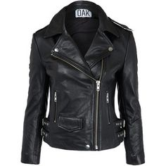 Oak Black Leather Biker Jacket