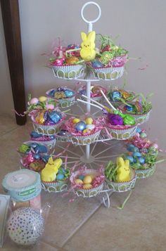 Homemade sidewalk chalks easter basket gift idea i think the adorable easter gift ideaa cupcake tray filled with goodies negle Gallery