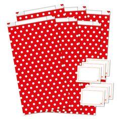 6er-Set Geschenktüten + Sticker  Dots - rot/weiß