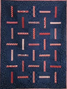 Try Janet Clare blues. Indigo and Red Japanese Rail Quilt by kallistiquilts on etsy Japanese Quilts, Japanese Textiles, Japanese Fabric, Rail Fence Quilt, Asian Quilts, Patriotic Quilts, Quilt Patterns, Quilting Ideas, Contemporary Quilts