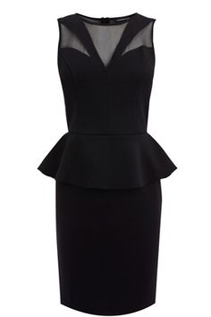 This Mesh Insert Peplum Dress