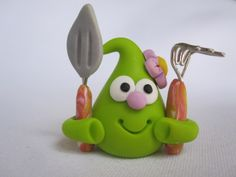 *POLYMER CLAY ~ Green Polymer Clay Smoochie with Garden Rake and Shovel by Young At Heart Creations, via Flickr