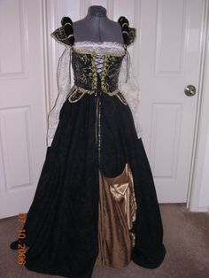 Black Renaissance gown with beading by customecostumer on Etsy, $300.00