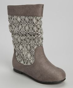 This Gray Crochet Glitter Boot by Chatties is perfect! #zulilyfinds