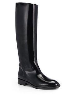 Saint Laurent Cavaliere Leather Knee-High Boots