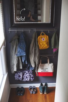 easy, inexpensive coat storage for a small space