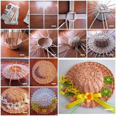 Paper weaving craft is a nice way to recycle old newspaper and magazines. You can make unique home decoration from this traditional crafts. Here is a nice DIY project to weave a decorative hat from Recycle Newspaper, Newspaper Basket, Newspaper Crafts, Old Newspaper, Paper Weaving, Weaving Art, Old Magazine Crafts, Craft Tutorials, Diy Projects