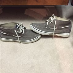 Men's Sperry Bahama Chukka Boot Worn once, Faded/washed look. in between a high top and an angle cut shoe. No issues. Sperry Top-Sider Shoes Lace Up Boots