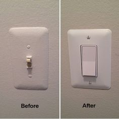 This photo rich tutorial shows how to upgrade and replace a single pole toggle style light switch with a rocker or paddle style switch and shows the use of an oversize cover plate.
