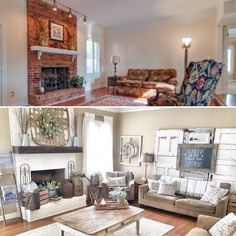 Before and after of my farmhouse living room