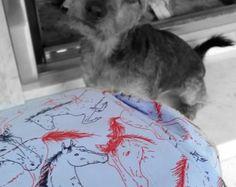 Dog bandana/scarf blue and red horses