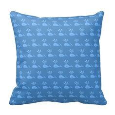 Blue Whale Pattern. Pillow #beautiful #blue #pillows #zazzle  #whales