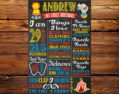 First Birthday Digital Chalkboard  - Milestone Chalkboard Sign - 1st Birthday - Circus Theme - Lion - Elephant- Big Top Tent - Carnival