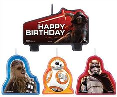 Awake the force at your next party with the Star Wars Episode VII candle set. This set is a perfect cake decoration for that special Star Wars fans birthday. Candles feature Chewbacca, Kylo Ren, and Captain Phasma. Star Wars Party Decorations, Star Wars Birthday Cake, Star Wars Vii, Birthday Cake With Candles, 6th Birthday Parties, Birthday Ideas, Disney Star Wars, Star Wars Episodes, Candle Set