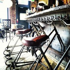Bar stools from recycled bicycles