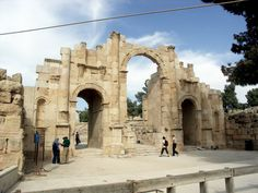 Most of these monuments were built by donations of the city's wealthy citizens. The south theatre has a focus in the centre of the pit in front of the stage, marked by a distinct stone, and from which normal speaking can be heard easily throughout the auditorium. From AD 350, a large Christian community lived in Jerash, and between AD 400-600, more than thirteen churches were built, many with superb mosaic floors. #tourguide #jerash #travel #tour #tourist #tourism