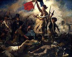 Eugène Delacroix, Vapaus johtaa kansaa, 1830, Louvre. Taiteilija Delacroix sijoitti maalaukseen myös itsensä. Hän on silinterihattuinen mies Vapauden vasemmalla puolella.