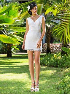 Sheath/Column V-neck Short/Mini Lace Wedding Dress | LightInTheBox