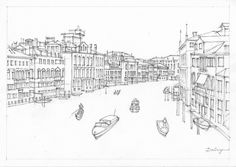 Freehand sketch of the Grand Canal in Venezia by award-winning Australian artist Dai Wynn.  Pencil and ink on medium surface texture 300 gsm Arches french cotton paper.  21 cm high by 29.5 cm wide (8.25 inches by 11.75 inches) approximately - A4 standard size.