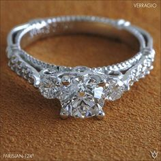 Verragio 3 stone diamond engagement ring round cut with diamond encrusted band