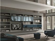 Mueble modular de pared composable montaje pared lacado CROSSING TEKA | Mueble modular de pared