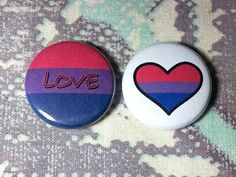 Bisexual Love Pinback Buttons  Set of 2 by jaxxisbuttons on Etsy