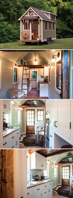A 150 sq.ft. tiny house on wheels with upper cabinets and a large sink in the kitchen, ceramic tile shower, and bedroom loft.
