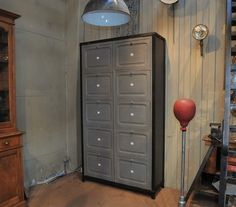 Industrial 1920s Clapets Pine and Iron Cabinet