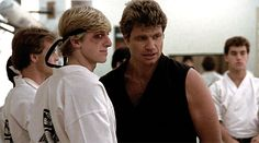 Johnny Lawrence and Sensei Kreese Karate Boy, The Karate Kid 1984, Karate Kid Movie, Karate Kid Cobra Kai, William Zabka, Cobra Kai Dojo, Miguel Diaz, Ralph Macchio, Bae