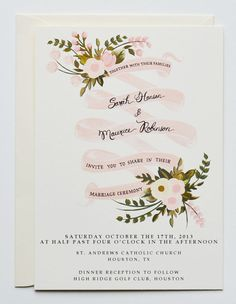 Custom Hand Painted Wedding Invitation Suite/ Set of 25-Blush Banner florals