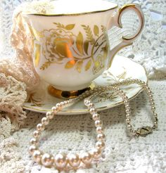 1950s Glass Pearl Necklace - Vintage Necklaces by SwankyJewels on Etsy