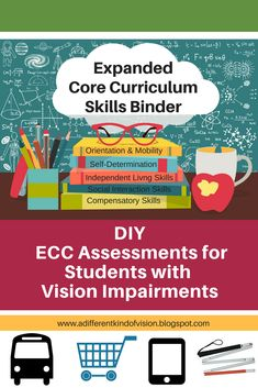 Make your own Expanded Core Curriculum resource binder using research based ECC assessments, screening tools and tip sheets for students with vision impairments. This binder is a great reference for teachers to provide Expanded Core instruction.