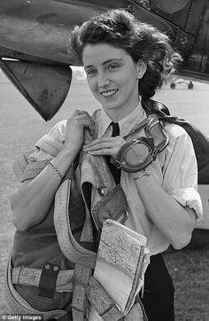 Poster girl: First Officer Maureen Dunlop, the daughter of a British mother and Australian father, became a poster girl for ATA after the photo on the right appeared on the cover of the Picture Post