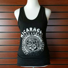 Nicaragua Tank Charcoal Gray Distressed White Print  CONDITION: Gently Used Condition Tops Tank Tops