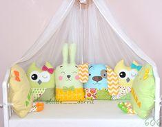 Купить Бортики в кроватку в интернет магазине на Ярмарке Мастеров Baby Comforter, Baby Pillows, Kids Pillows, Baby Room Design, Baby Room Decor, Owl Pillow Pattern, Baby Shower Baskets, Moise, Baby Swings