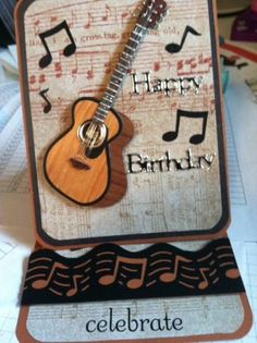 Music Instruments Cards Guitar Easel Card Pinterest Masculine Stampin Up