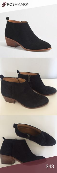 """J.Crew Factory Sawyer Black Suede Ankle Boots -J.Crew Factory Women's Sawyer Black Suede Ankle Boots 5 1/2 -Some wear from use ( see photos for details) but still in excellent used condition. -Suede Upper. -Man-made sole. -2"""" heel. J.Crew Factory Shoes Ankle Boots & Booties"""