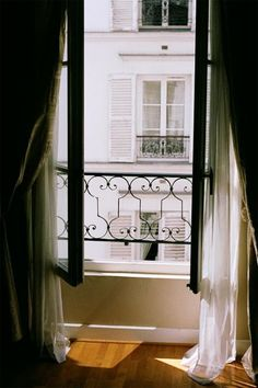 Reminds me of our apartment windows in Paris. Window View, Open Window, Balcony Window, Balcony Curtains, Room Window, Sheer Curtains, French Balcony, French Windows, French Doors